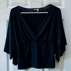 Max Studio Vintage Black V Neck Kimono Top